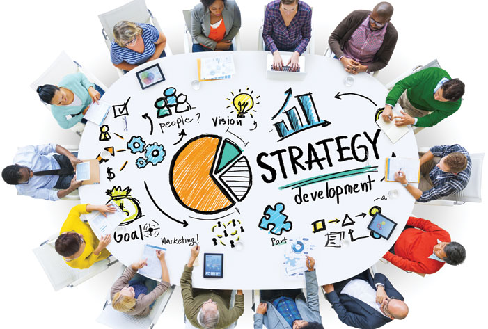 People designing a digital marketing strategy